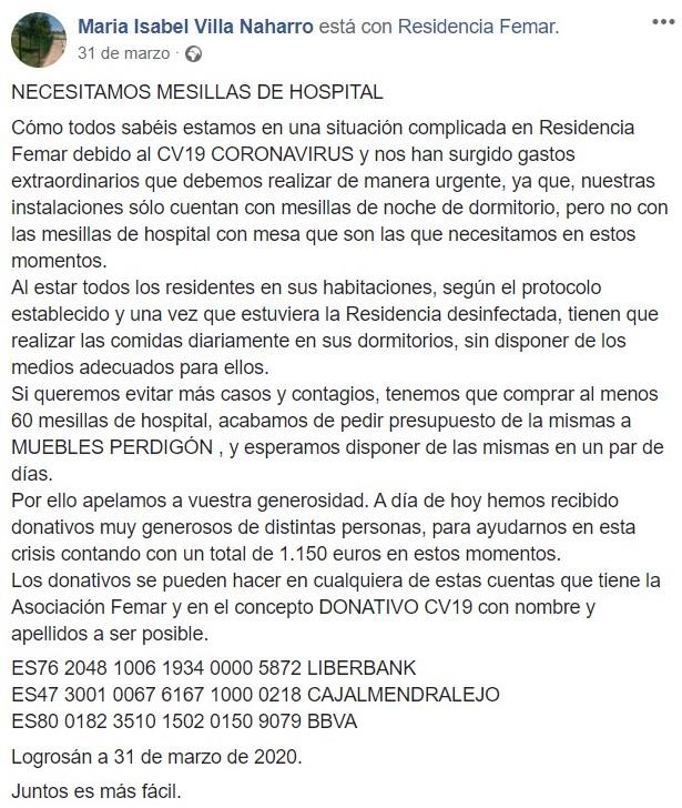 Cadena Silva ayudó económicamente a la residencia de Logrosán (Cáceres) 2020 1