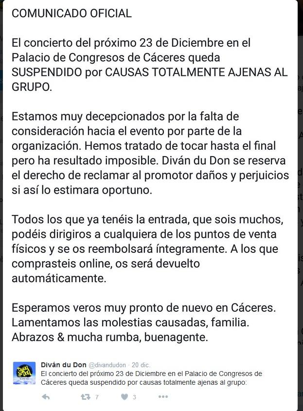 Noticia Suspendido el concierto de Diván du Don 2016 - Cáceres