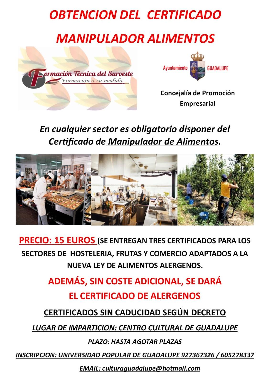 Certificado en manipulador de alimentos 2018 - Guadalupe