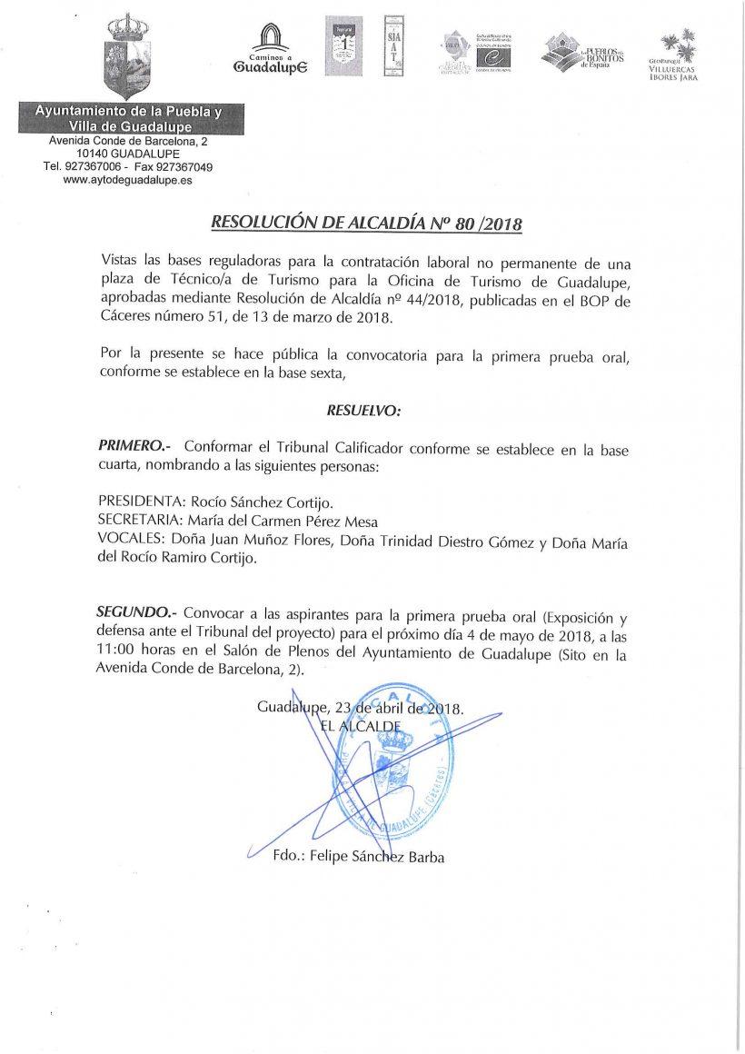 Convocatoria prueba oral técnico de turismo 2018 - Guadalupe