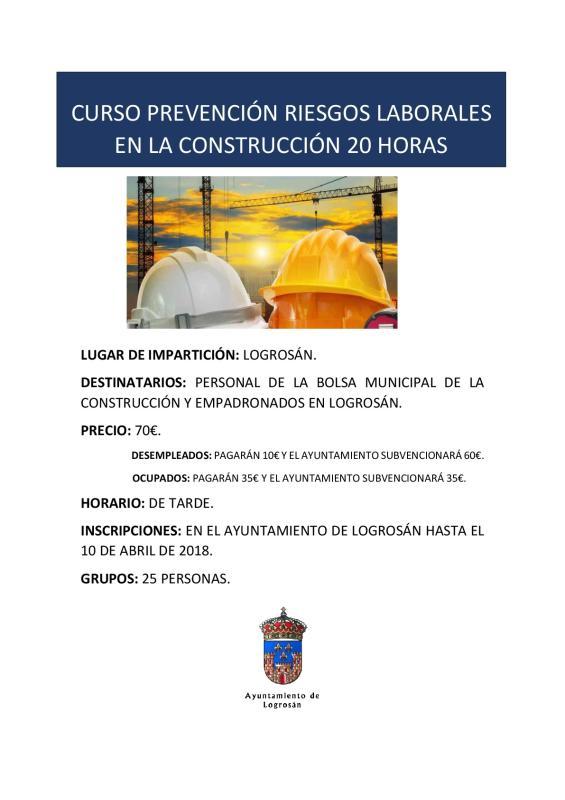 Prevención riesgos laborales en la construcción 2018 - Logrosán