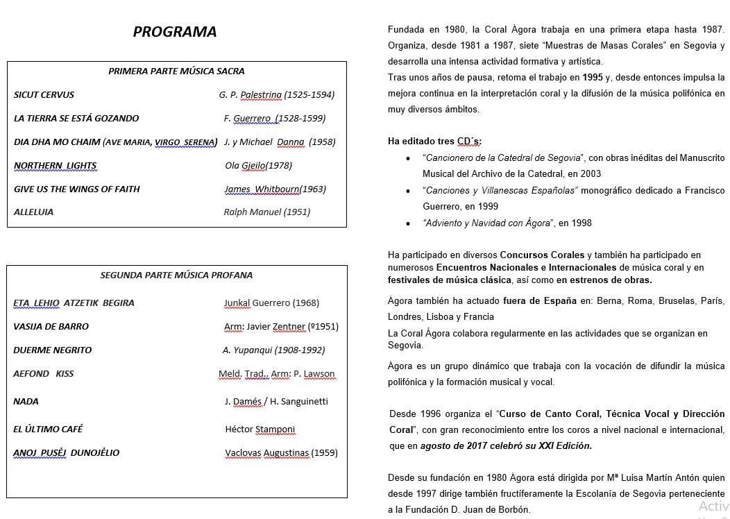 Programa concierto Coral Ágora de Segovia 2018 - Guadalupe