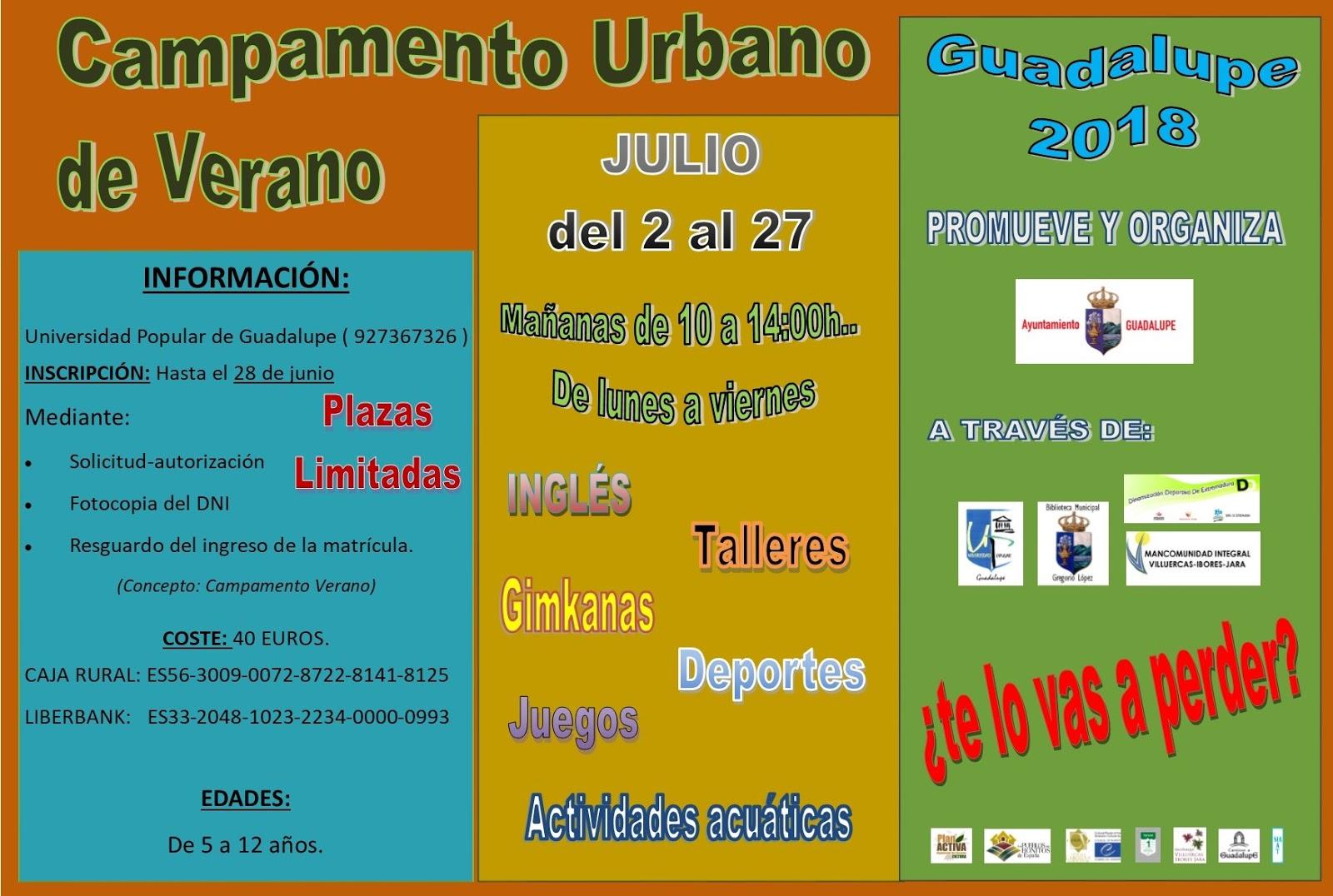 Campamento urbano de verano 2018 - Guadalupe