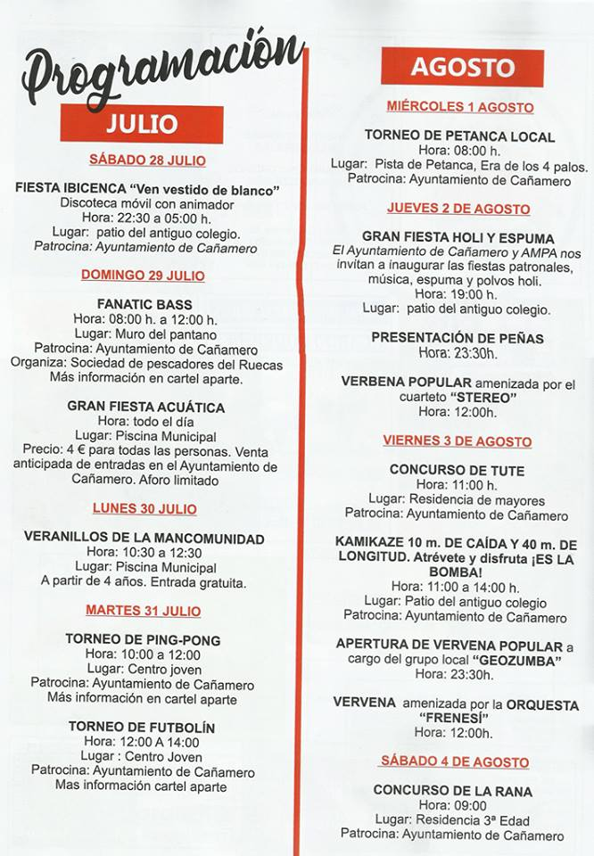Fiestas patronales 2018 - Cañamero 2