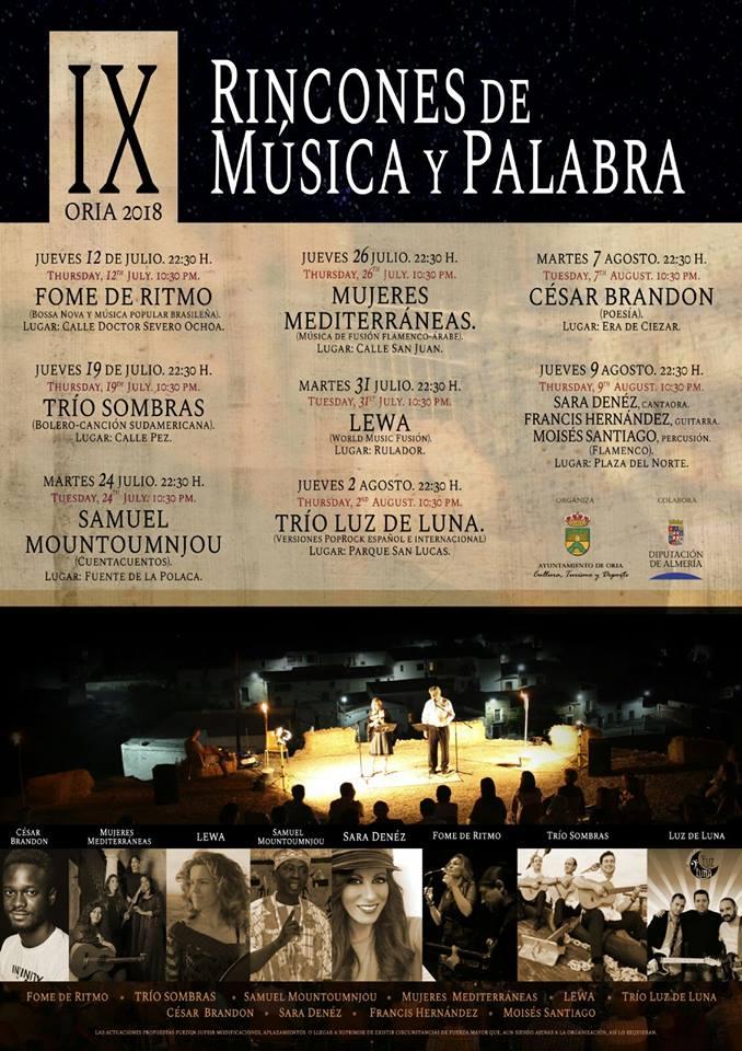 IX Rincones de música y palabra - Oria (Almería)