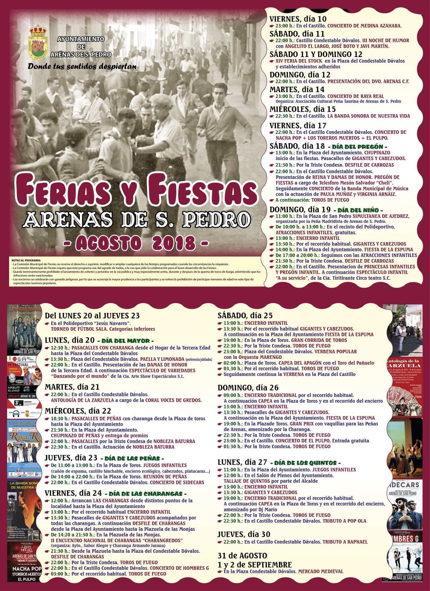 Ferias y fiestas 2018 - Arenas de San Pedro