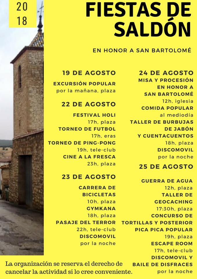 Fiestas en honor a San Bartolomé 2018 - Saldón (Teruel)