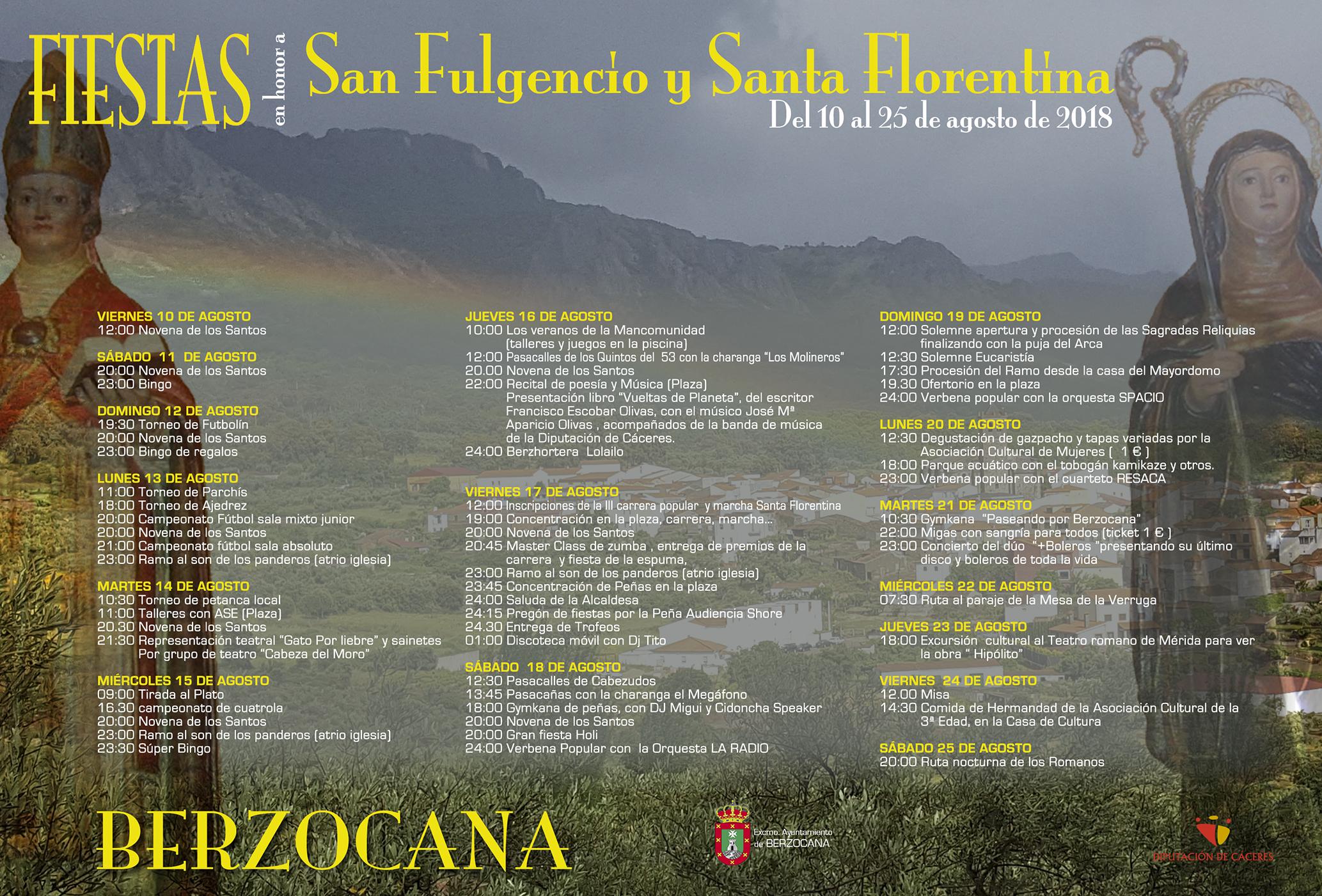 Fiestas en honor a San Fulgencio y Santa Florentina 2018 - Berzocana