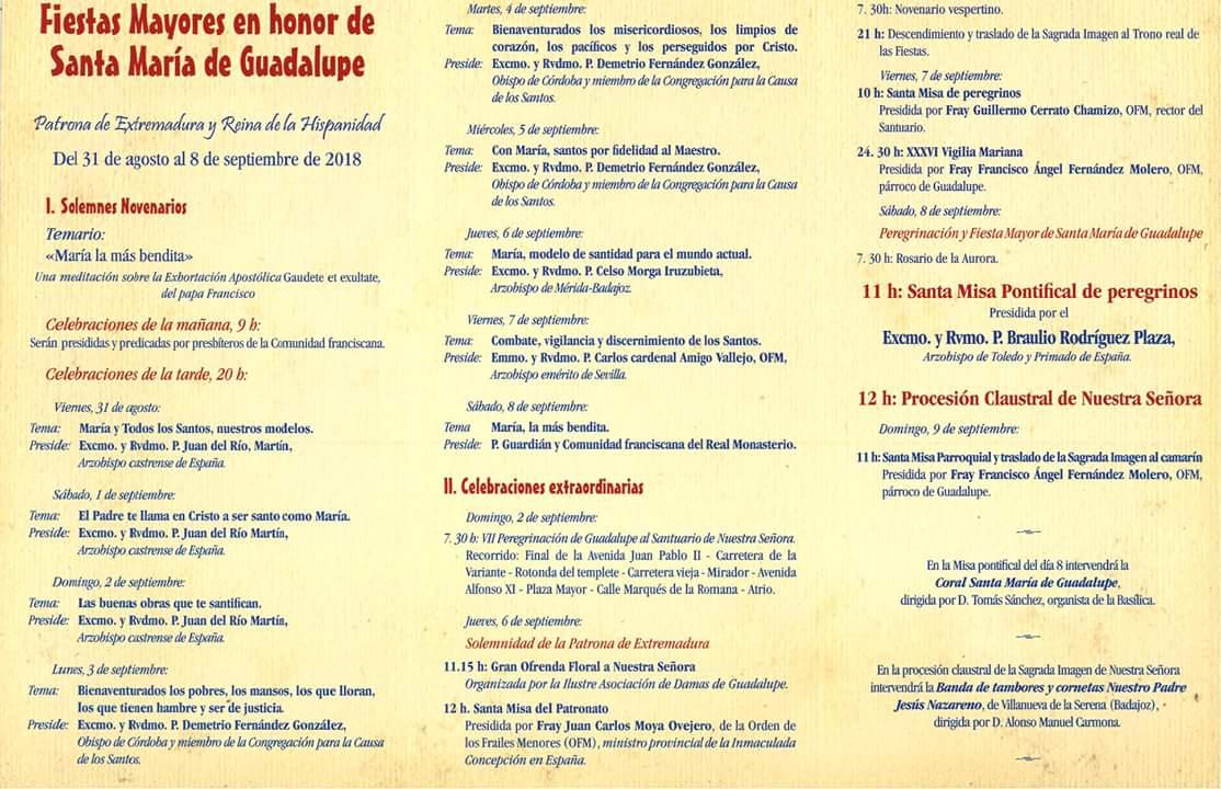 Peregrinación y fiestas mayores 2018 - Guadalupe