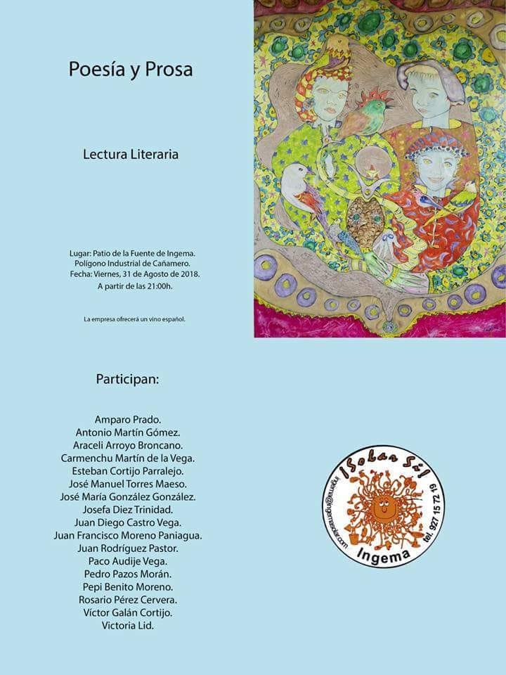 Poesía y prosa. Lectura literaria 2018 - Cañamero (Cáceres)