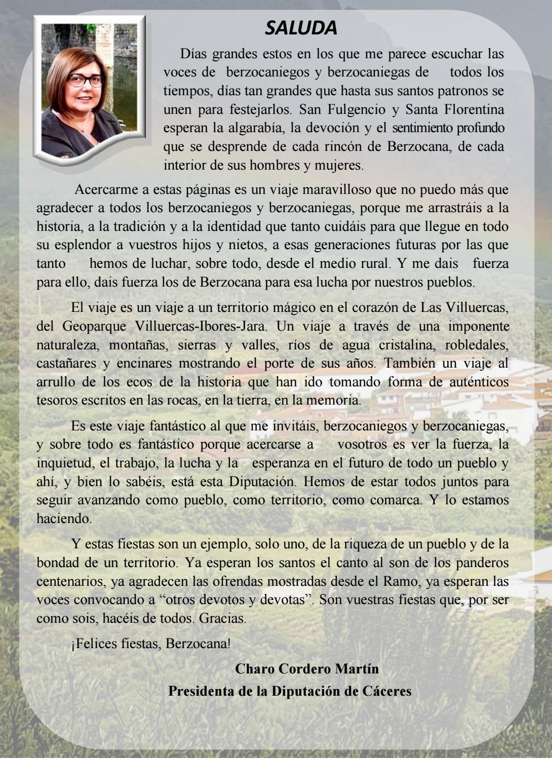 Programa de fiestas en honor a San Fulgencio y Santa Florentina 2018 - Berzocana 2