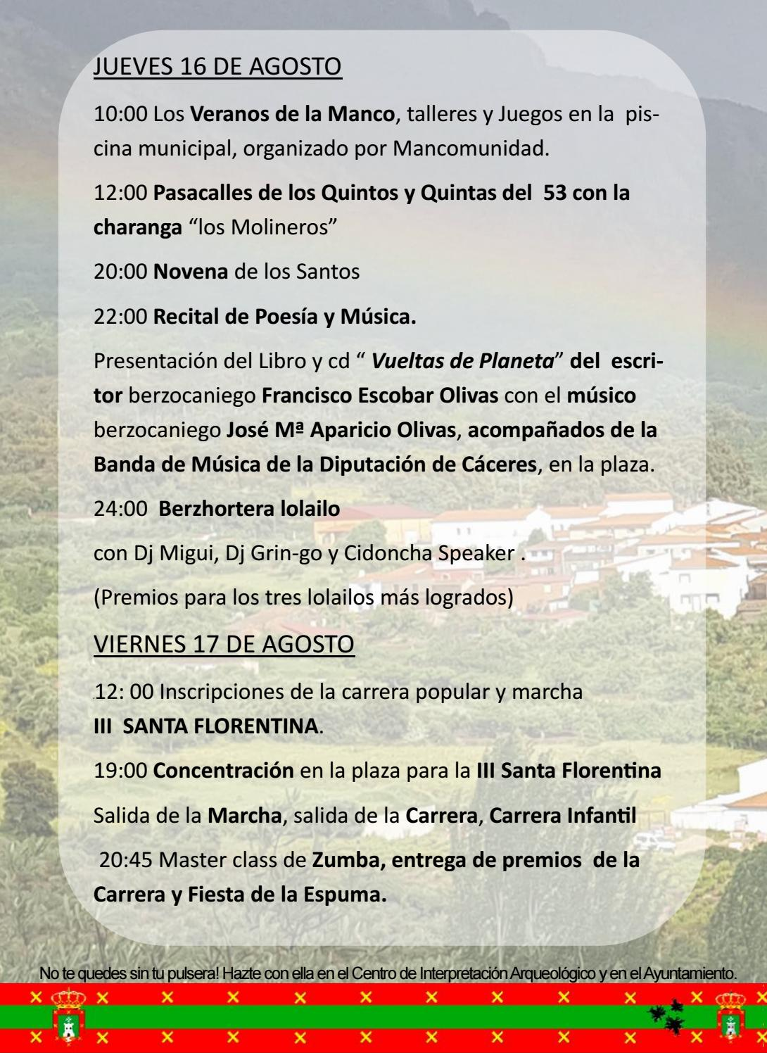 Programa de fiestas en honor a San Fulgencio y Santa Florentina 2018 - Berzocana 6