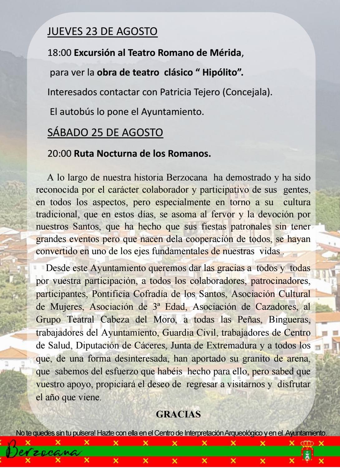 Programa de fiestas en honor a San Fulgencio y Santa Florentina 2018 - Berzocana 9
