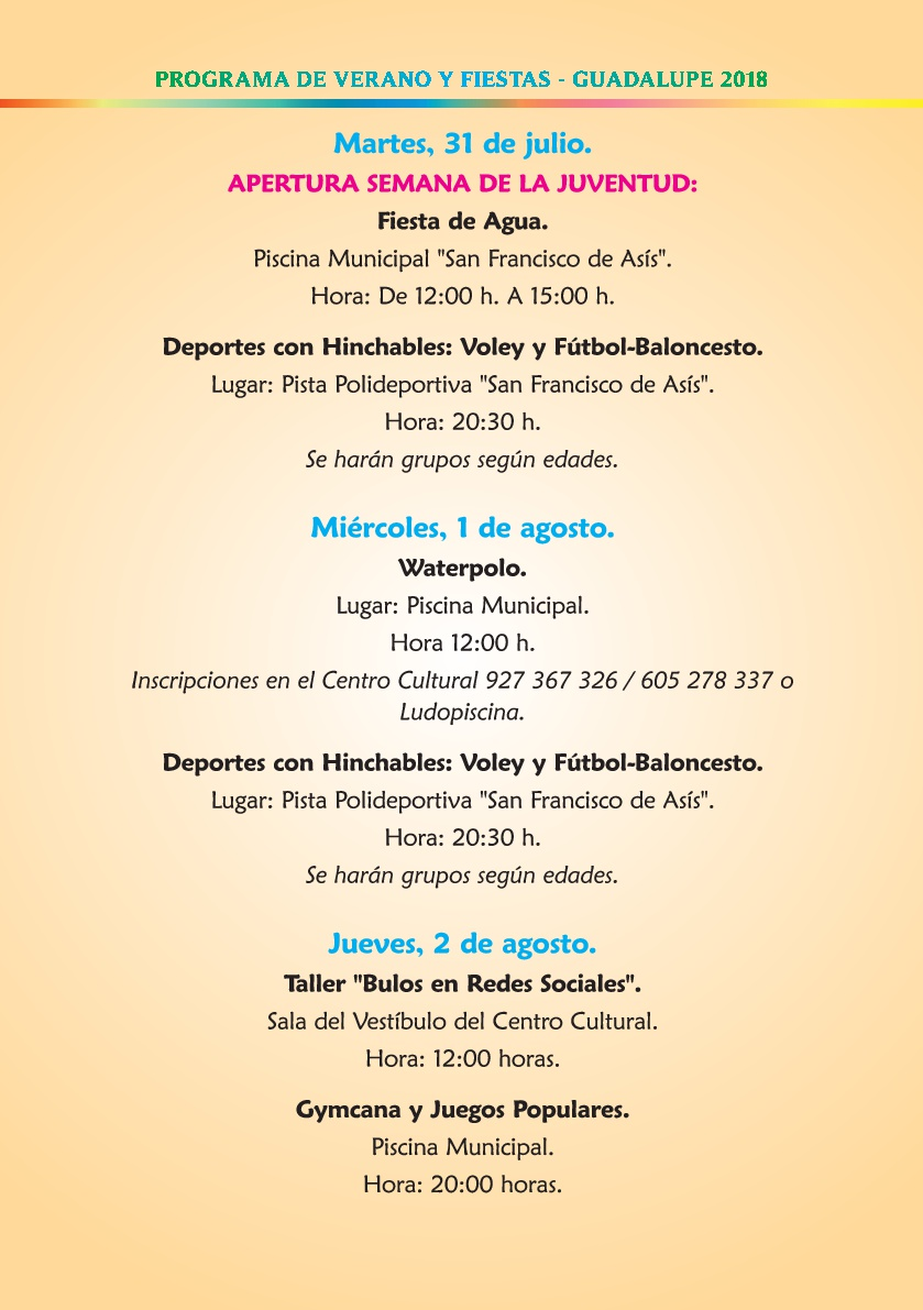 Programa de verano y fiestas 2018 - Guadalupe 6