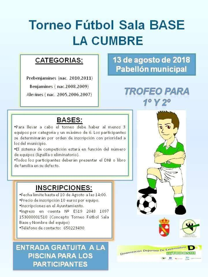 Torneo de fútbol sala base agosto 2018 - La Cumbre