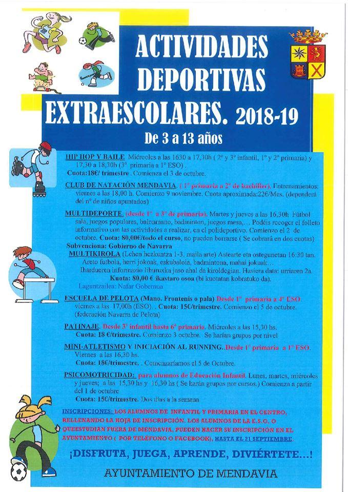 Actividades deportivas extraescolares 2018-2019 - Mendavia (Navarra)
