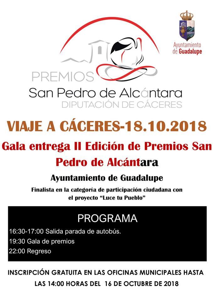 Gala II edición de premios San Pedro de Alcántara - Guadalupe (Cáceres)