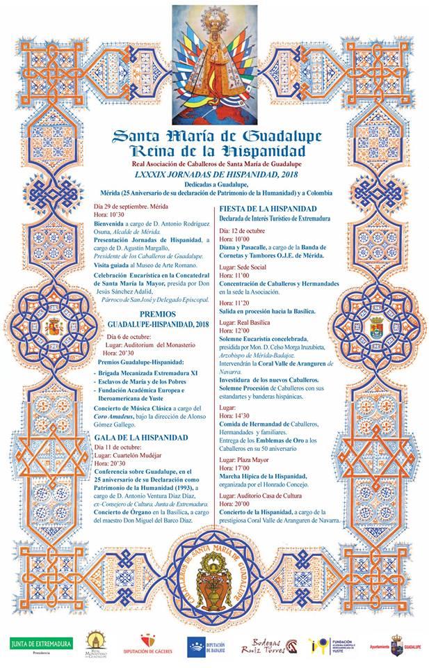 Programa fiesta de la Hispanidad 2018 - Guadalupe (Cáceres)