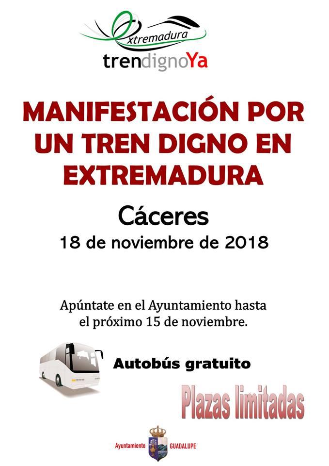 Manifestación por un tren digno en Extremadura 2018 - Guadalupe (Cáceres)