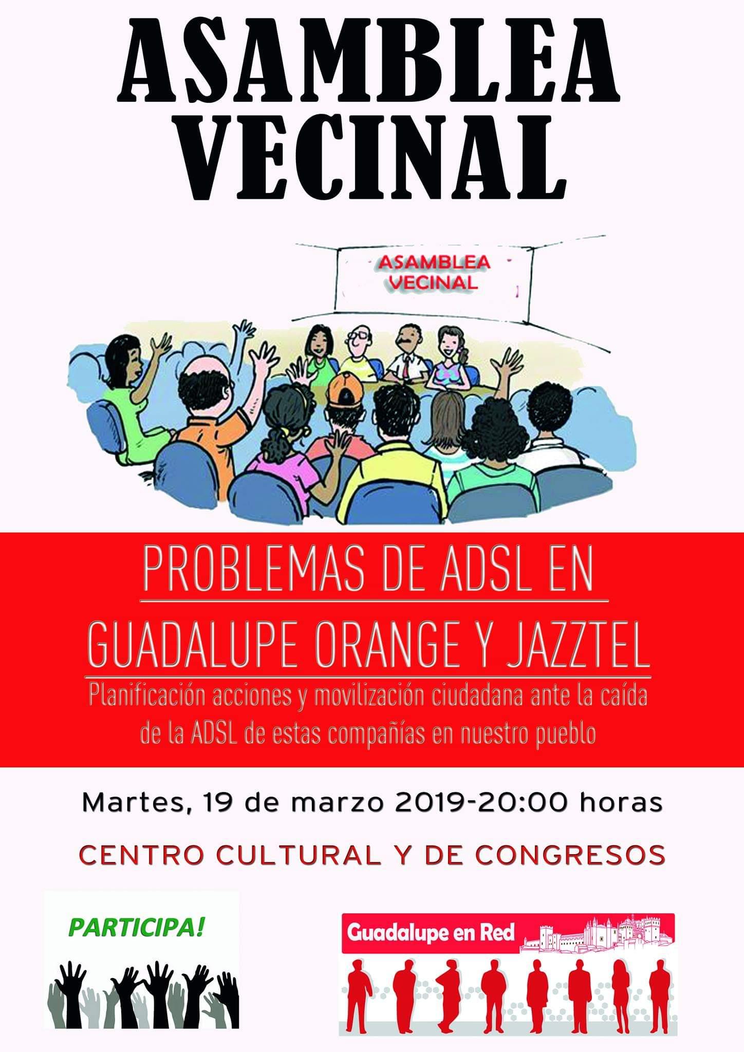 Asamblea vecinal de problemas de ADSL con Orange 2019 - Guadalupe (Cáceres)