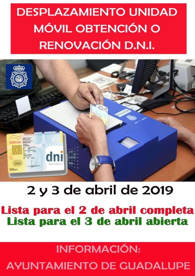 Desplazamiento unidad móvil D.N.I. 2019 - Guadalupe (Cáceres)