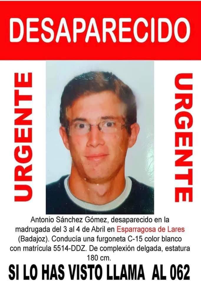 Desaparece un joven de Esparragosa de Lares (Badajoz) abril 2019