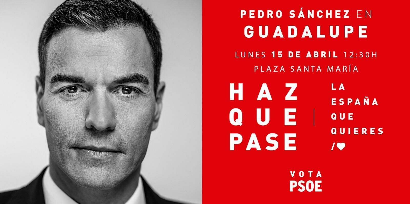 Pedro Sánchez en Guadalupe abril 2019