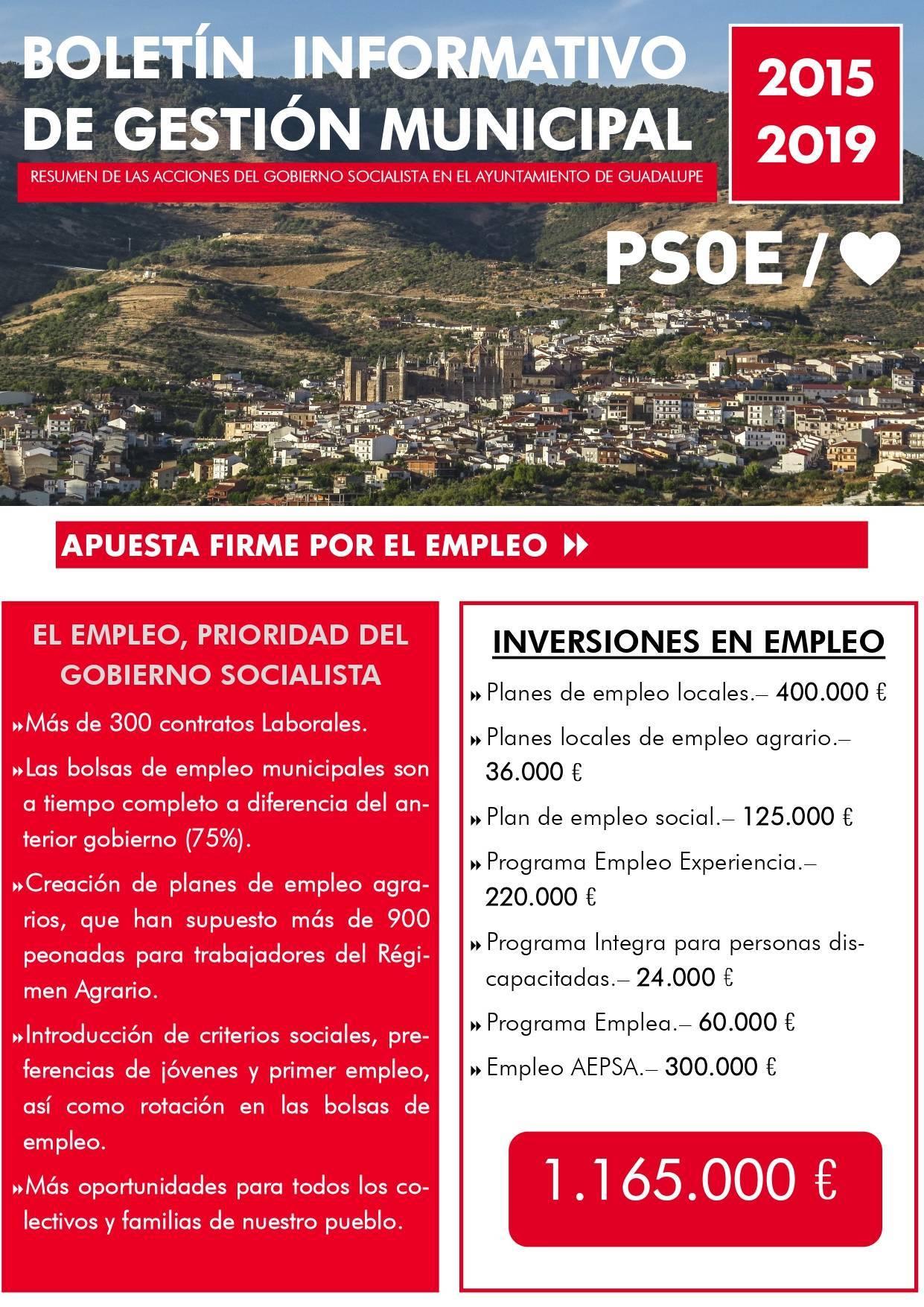 Boletín informativo de gestión municipal 2015-2019 - Guadalupe (Cáceres) 1
