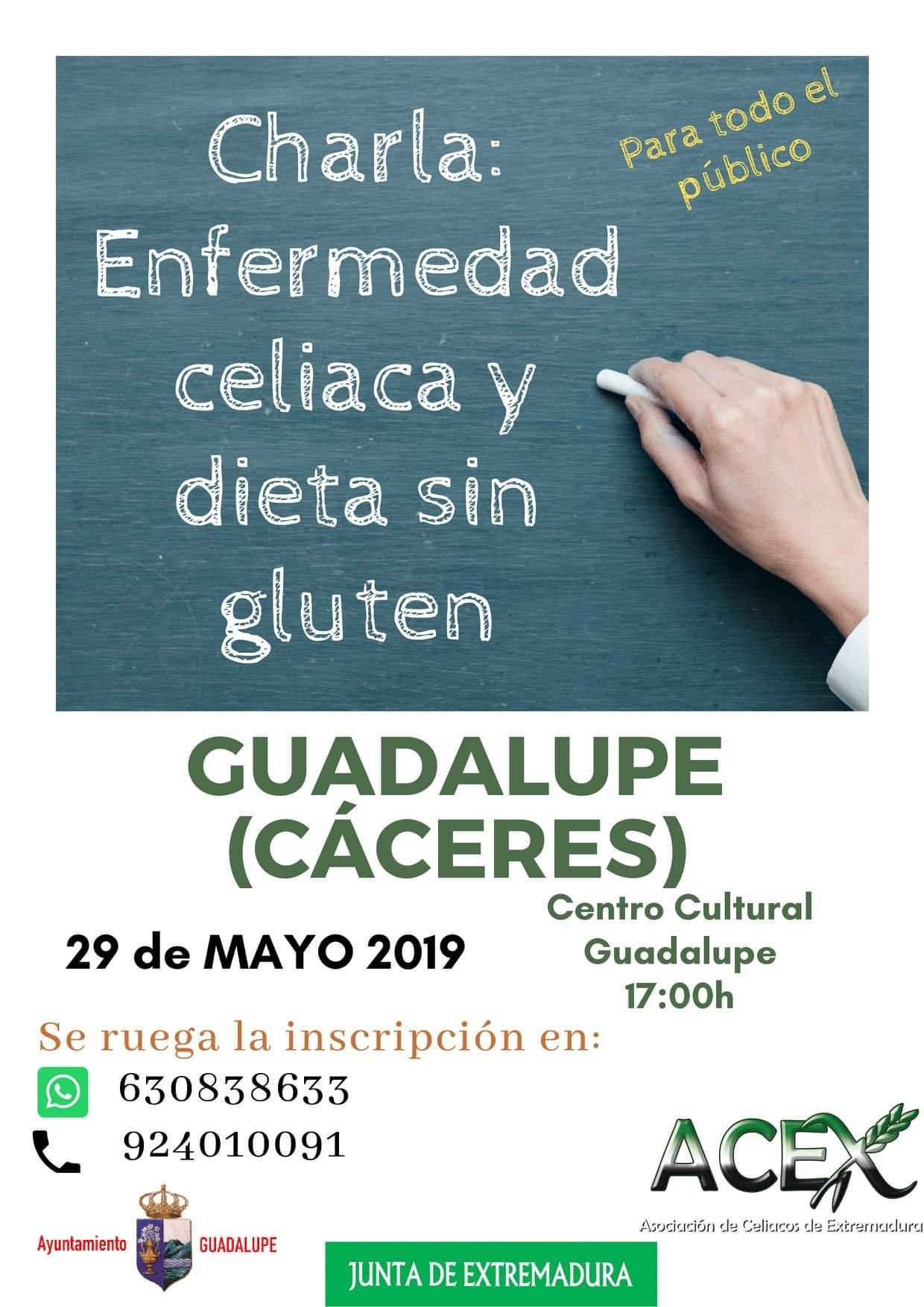 Charla sobre la enfermedad celiaca y dieta sin gluten mayo 2019 - Guadalupe (Cáceres)