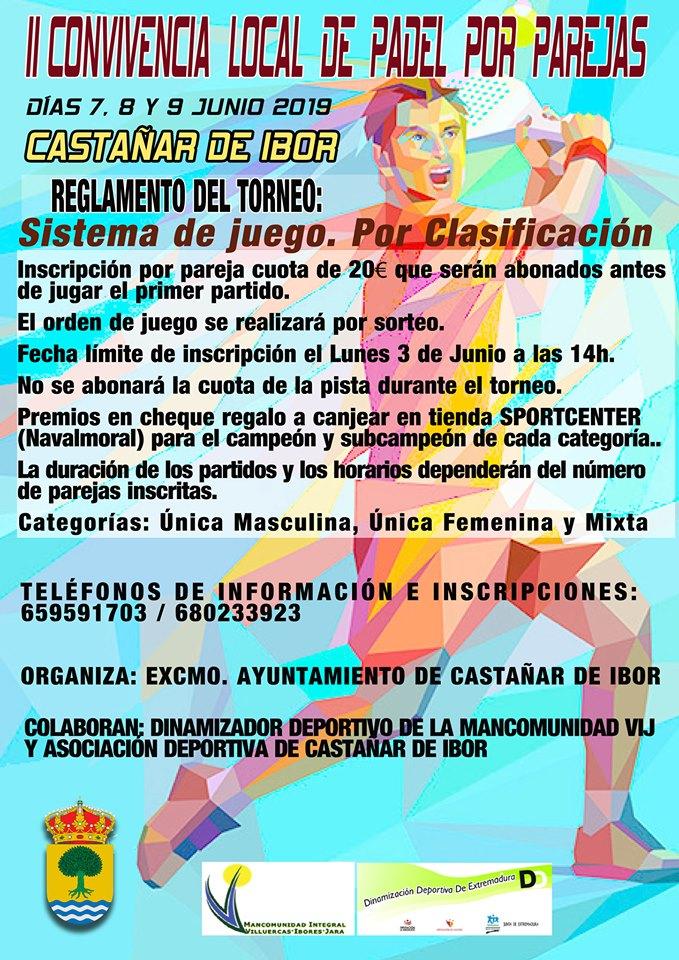 II Convivencia local de pádel por parejas - Castañar de Ibor (Cáceres)
