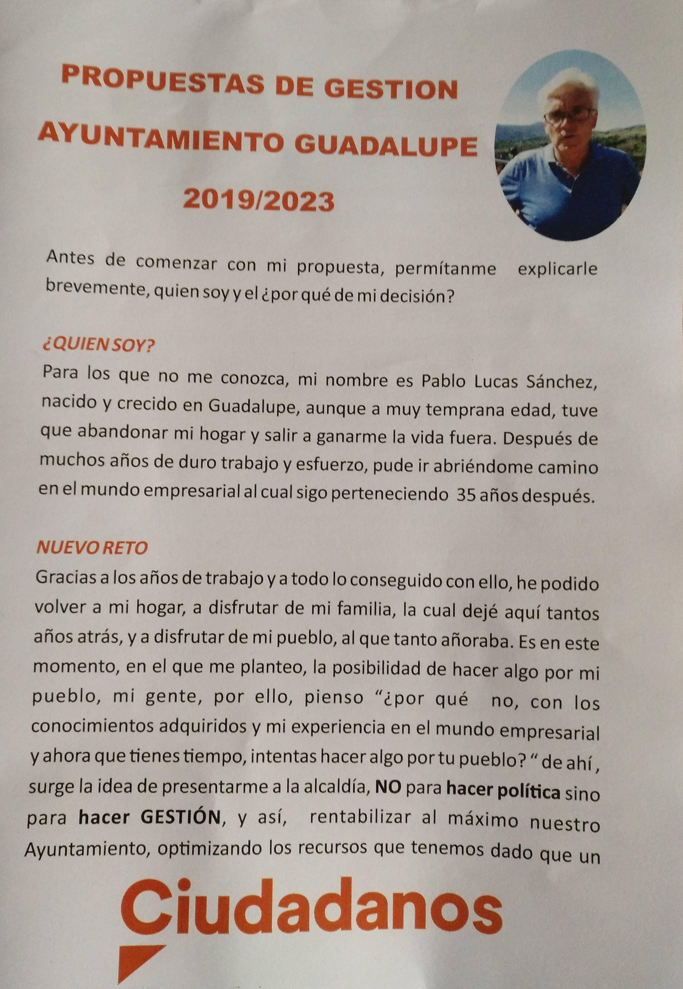Programa electoral Ciudadanos 2019 - Guadalupe (Cáceres) 1