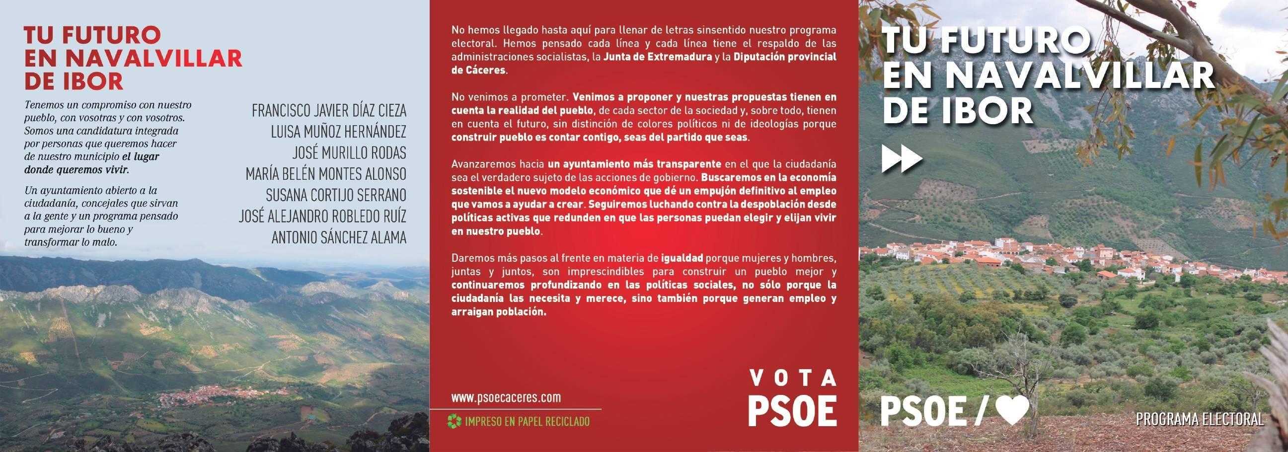 Programa electoral PSOE 2019 - Navalvillar de Ibor (Cáceres) 1