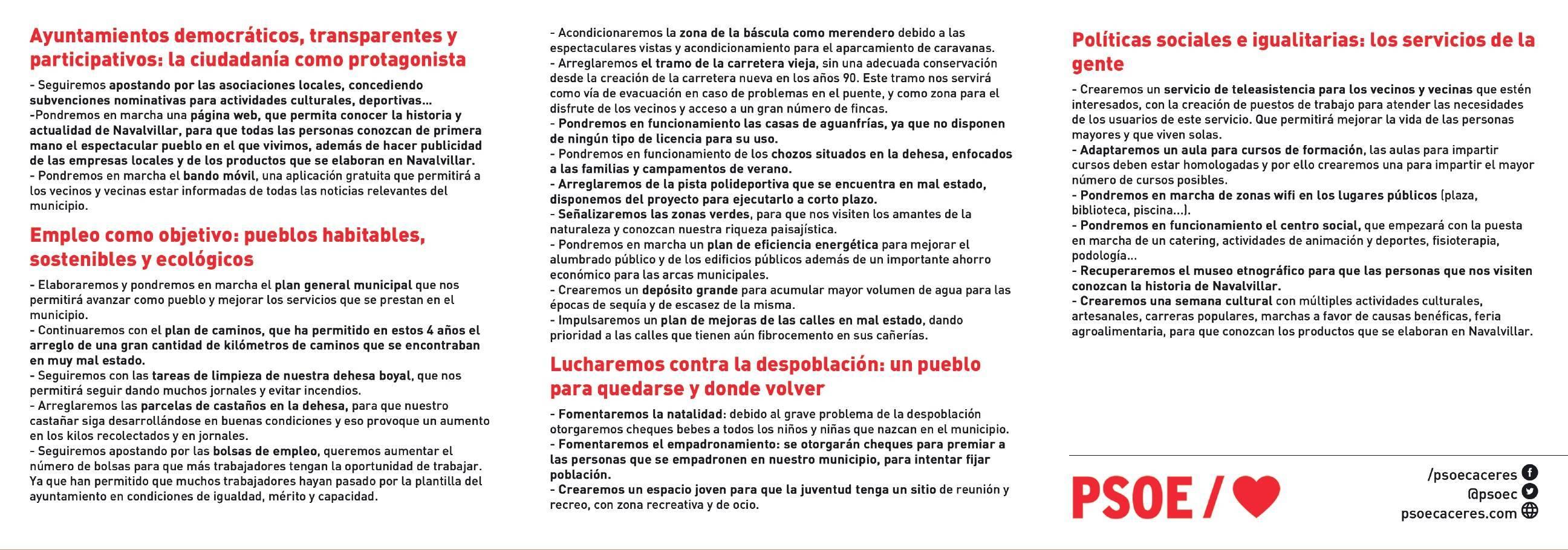 Programa electoral PSOE 2019 - Navalvillar de Ibor (Cáceres) 2