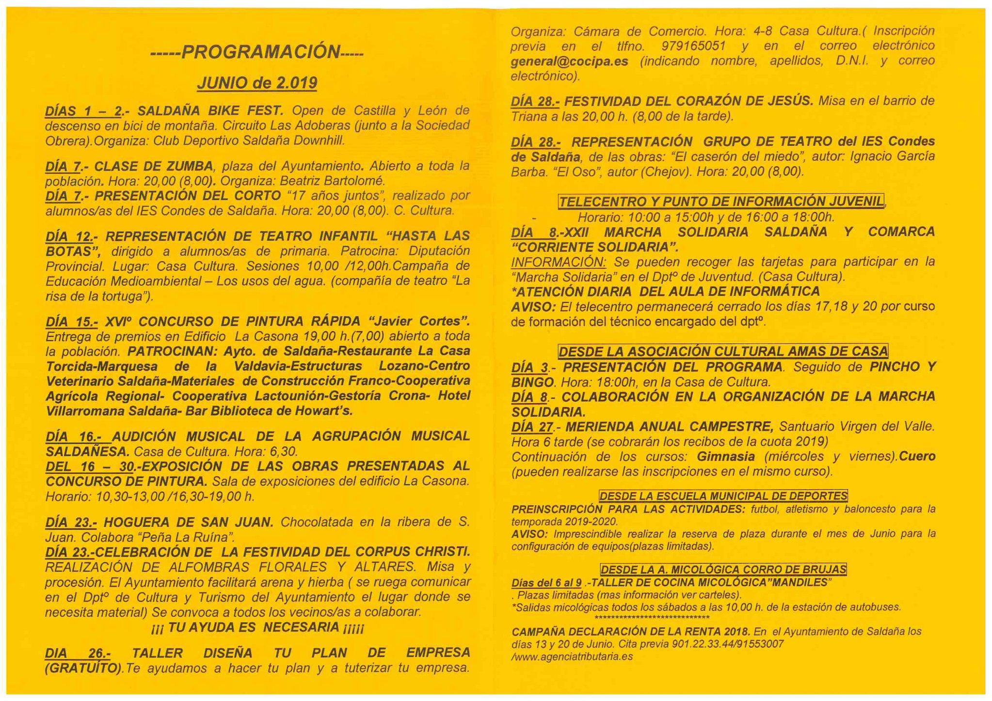 Boletín cultural junio 2019 - Saldaña (Palencia) 2