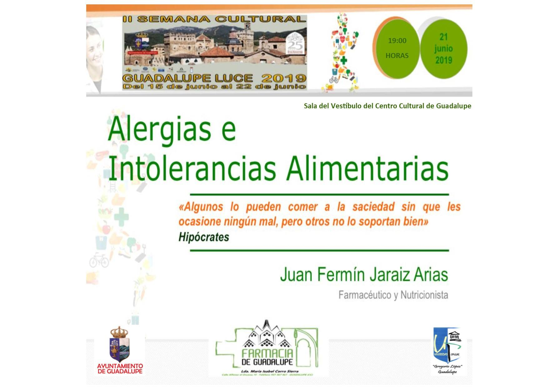 Charla-coloquio alergias e intolerancias alimentarias 2019 - Guadalupe (Cáceres)