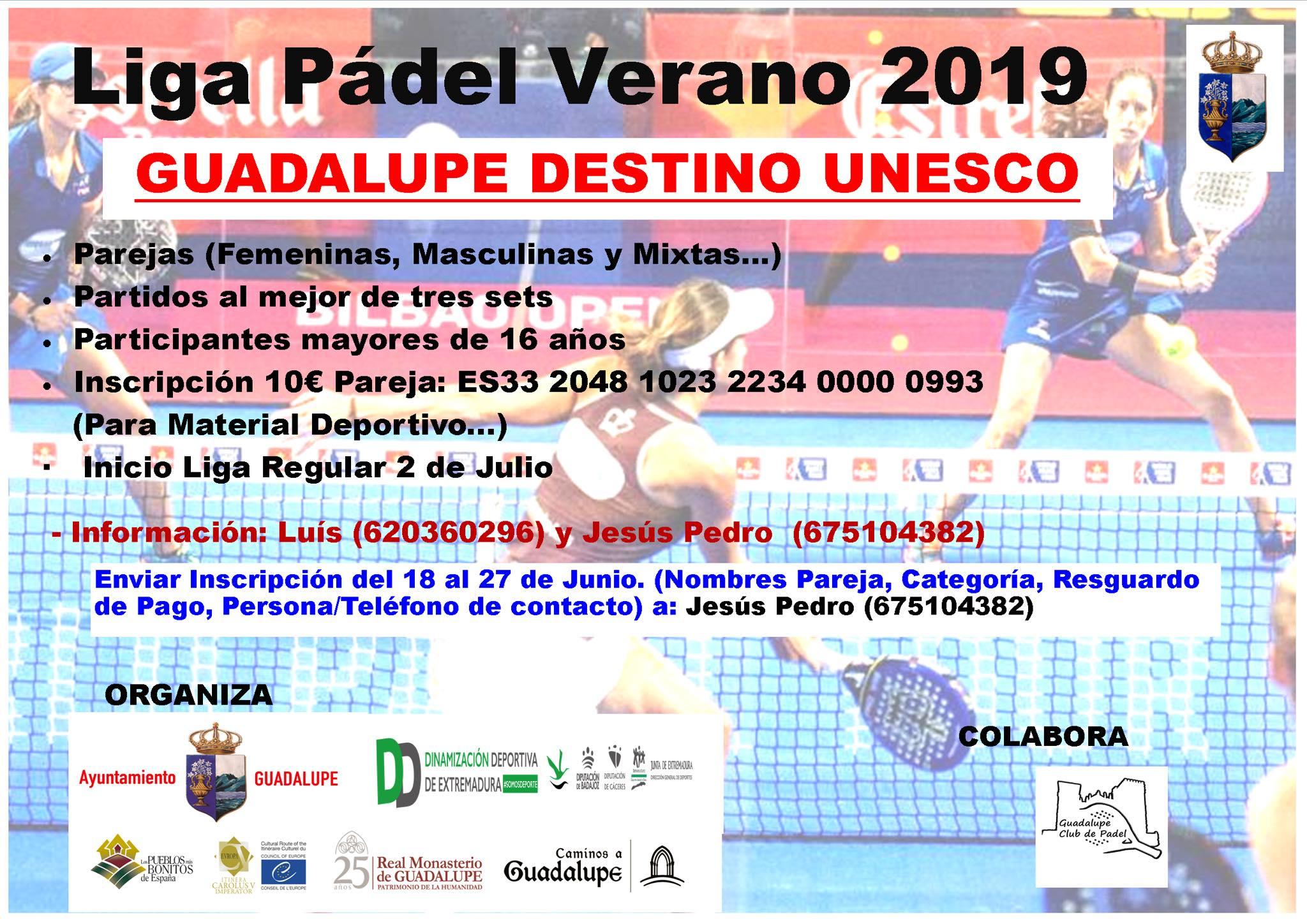 Liga de pádel de verano 2019 - Guadalupe (Cáceres)
