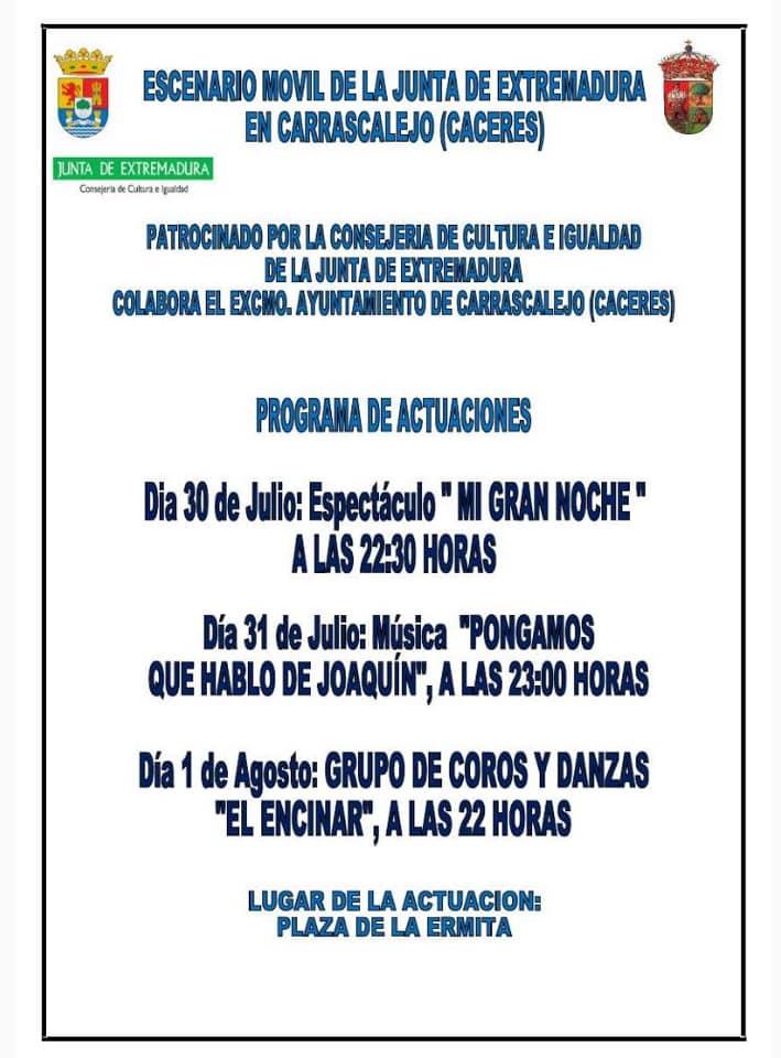 Actuaciones de verano 2019 - Carrascalejo (Cáceres)