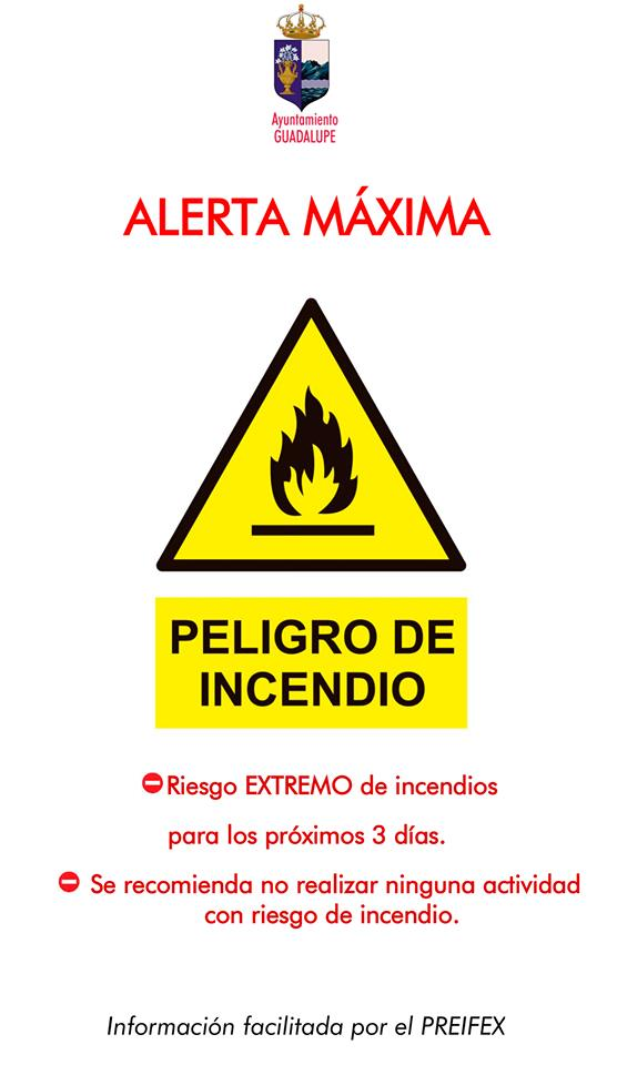 El Ayuntamiento recomienda precaución por riesgo de incendio julio 2019 - Guadalupe (Cáceres)