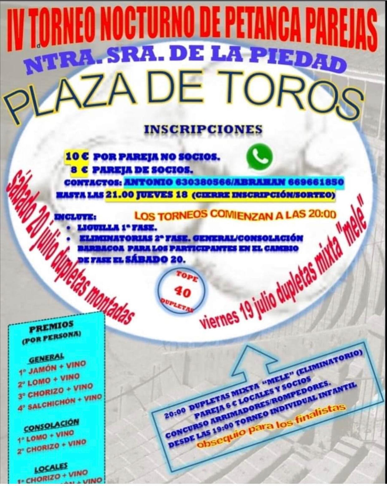 IV Torneo nocturno de petanca parejas - Trujillo (Cáceres)