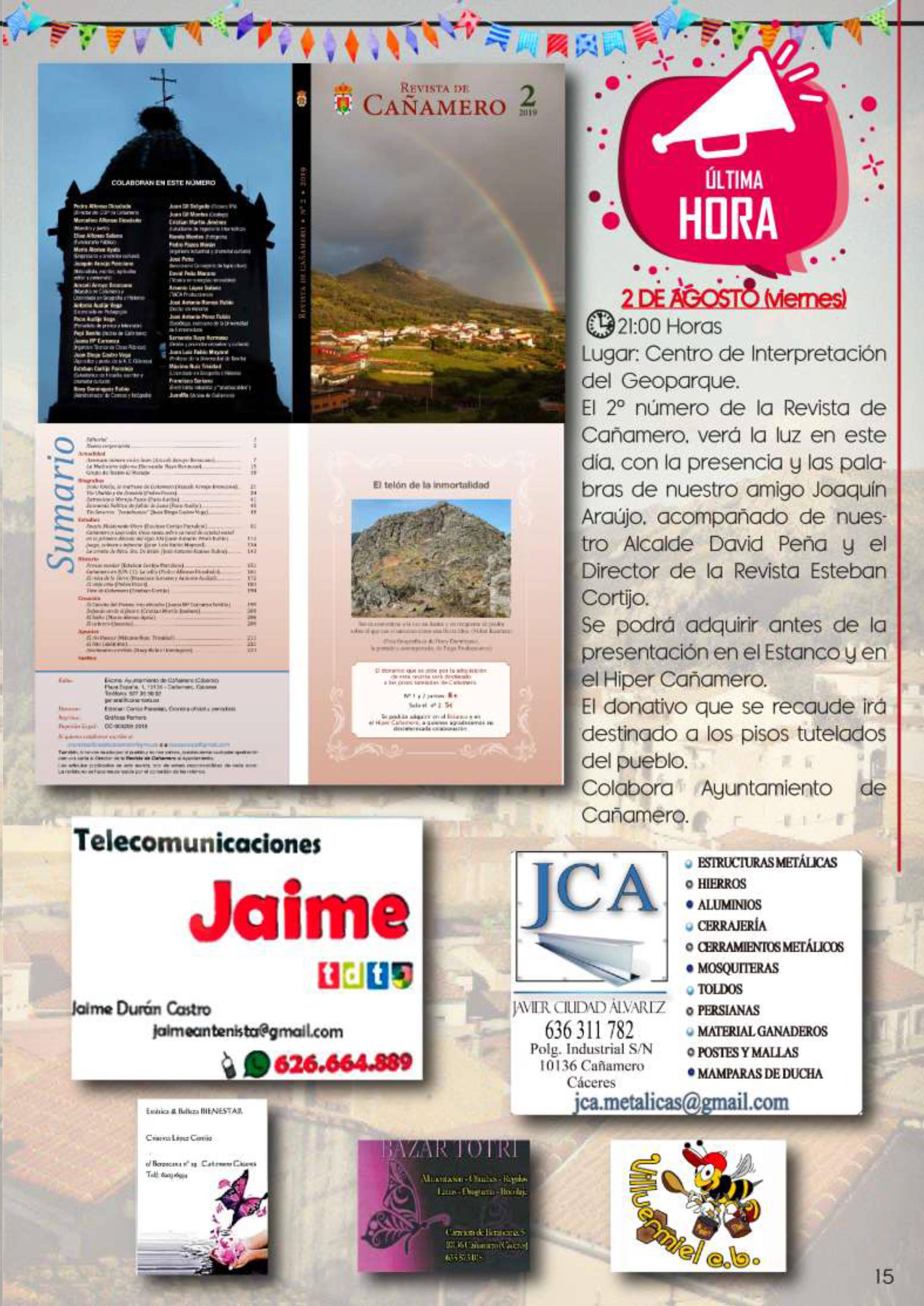 Programa de fiestas patronales 2019 - Cañamero (Cáceres) 11