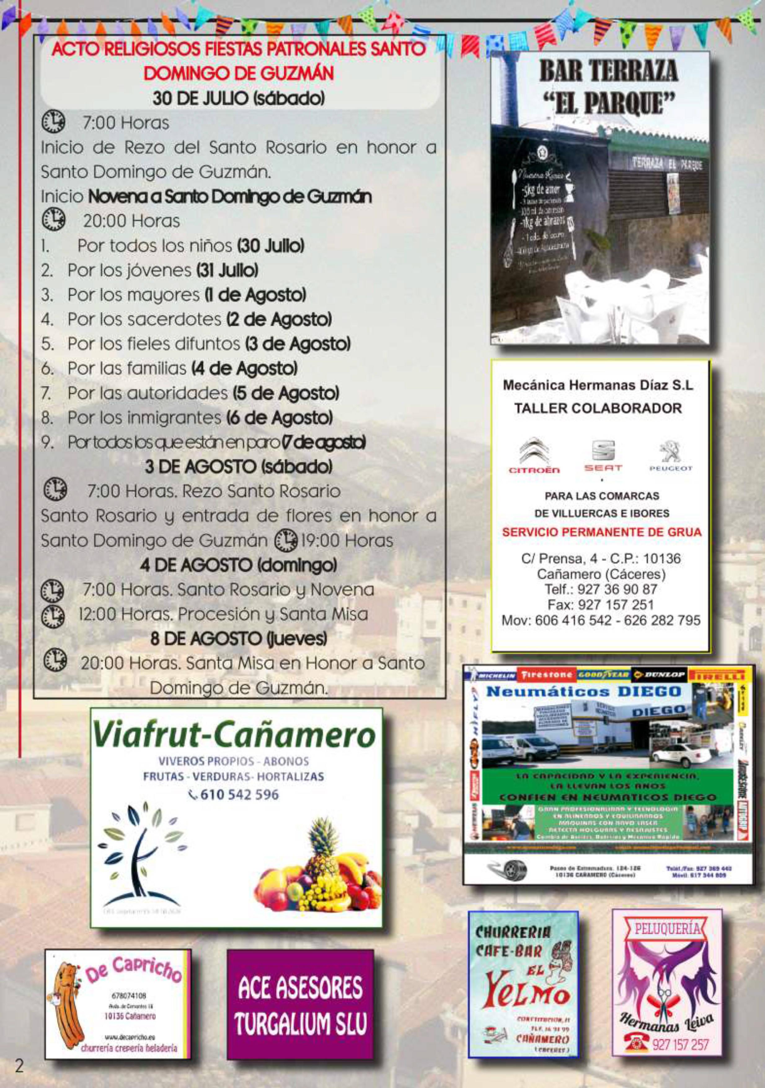 Programa de fiestas patronales 2019 - Cañamero (Cáceres) 2