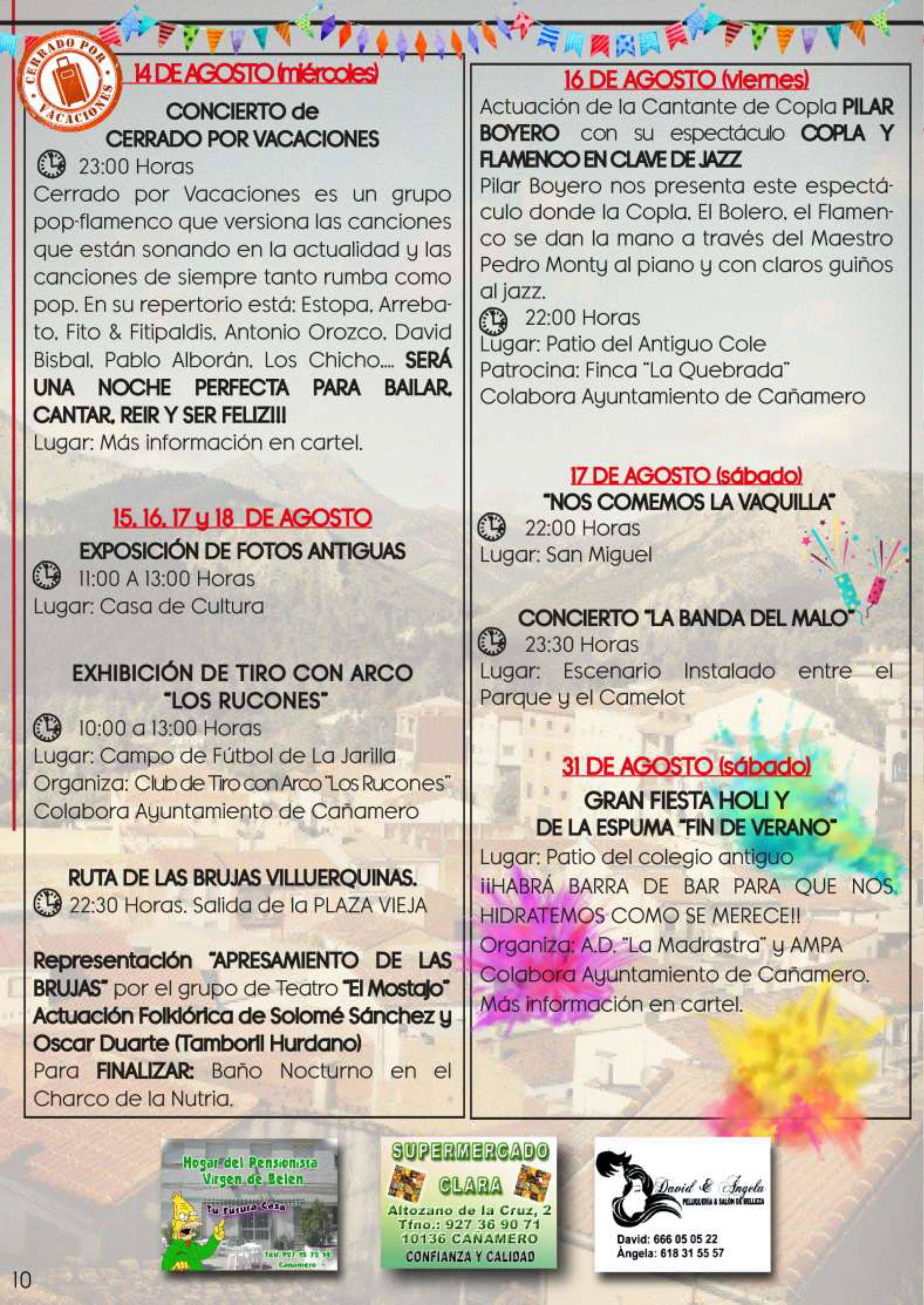 Programa de fiestas patronales 2019 - Cañamero (Cáceres) 8