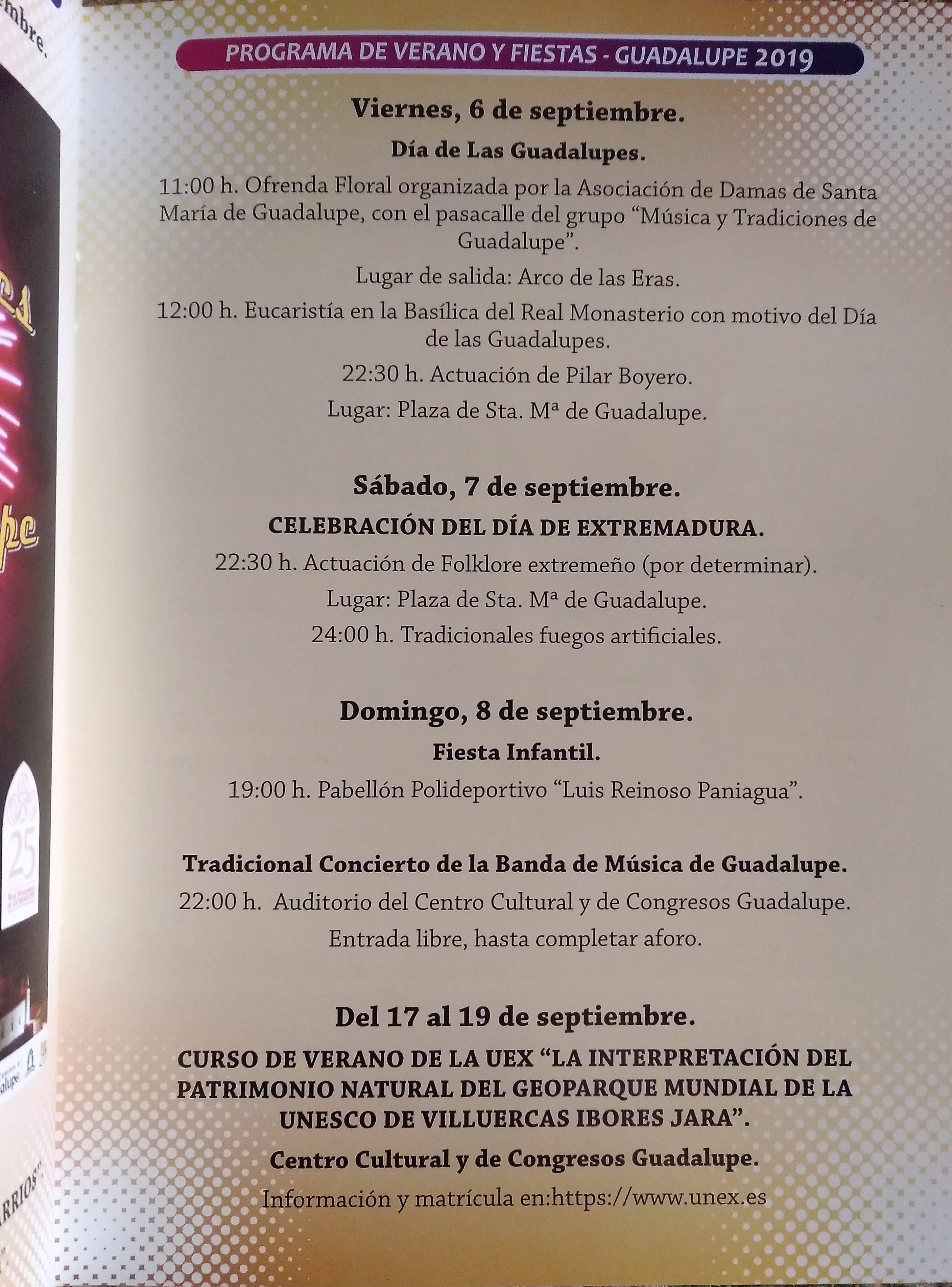 Programa de verano y fiestas rectificado 2019 - Guadalupe (Cáceres)
