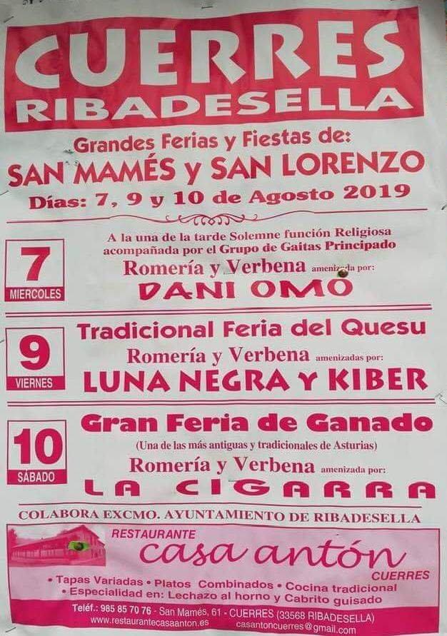 Ferias y fiestas 2019 - Cuerres (Asturias)