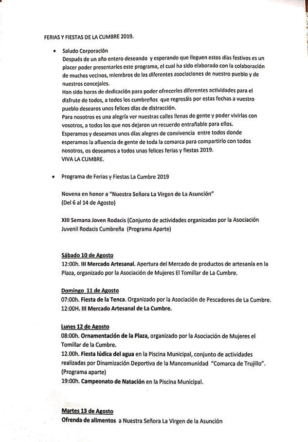 Ferias y fiestas 2019 - La Cumbre (Cáceres) 1