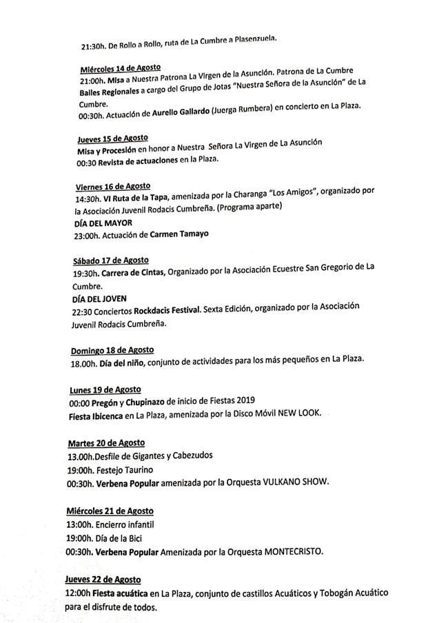 Ferias y fiestas 2019 - La Cumbre (Cáceres) 2