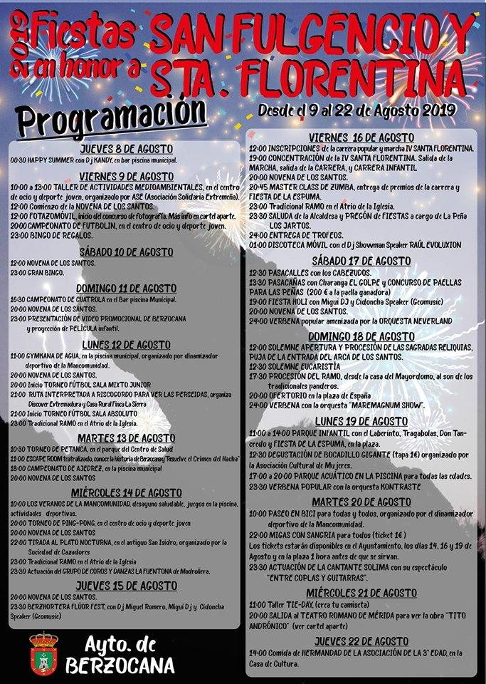 Fiestas de San Fulgencio y Santa Florentina 2019 - Berzocana (Cáceres)