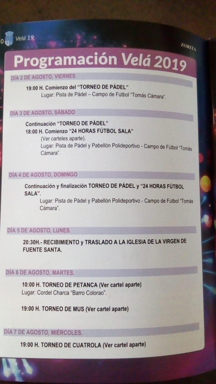 Programa Velá 2019 - Zorita (Cáceres) 1