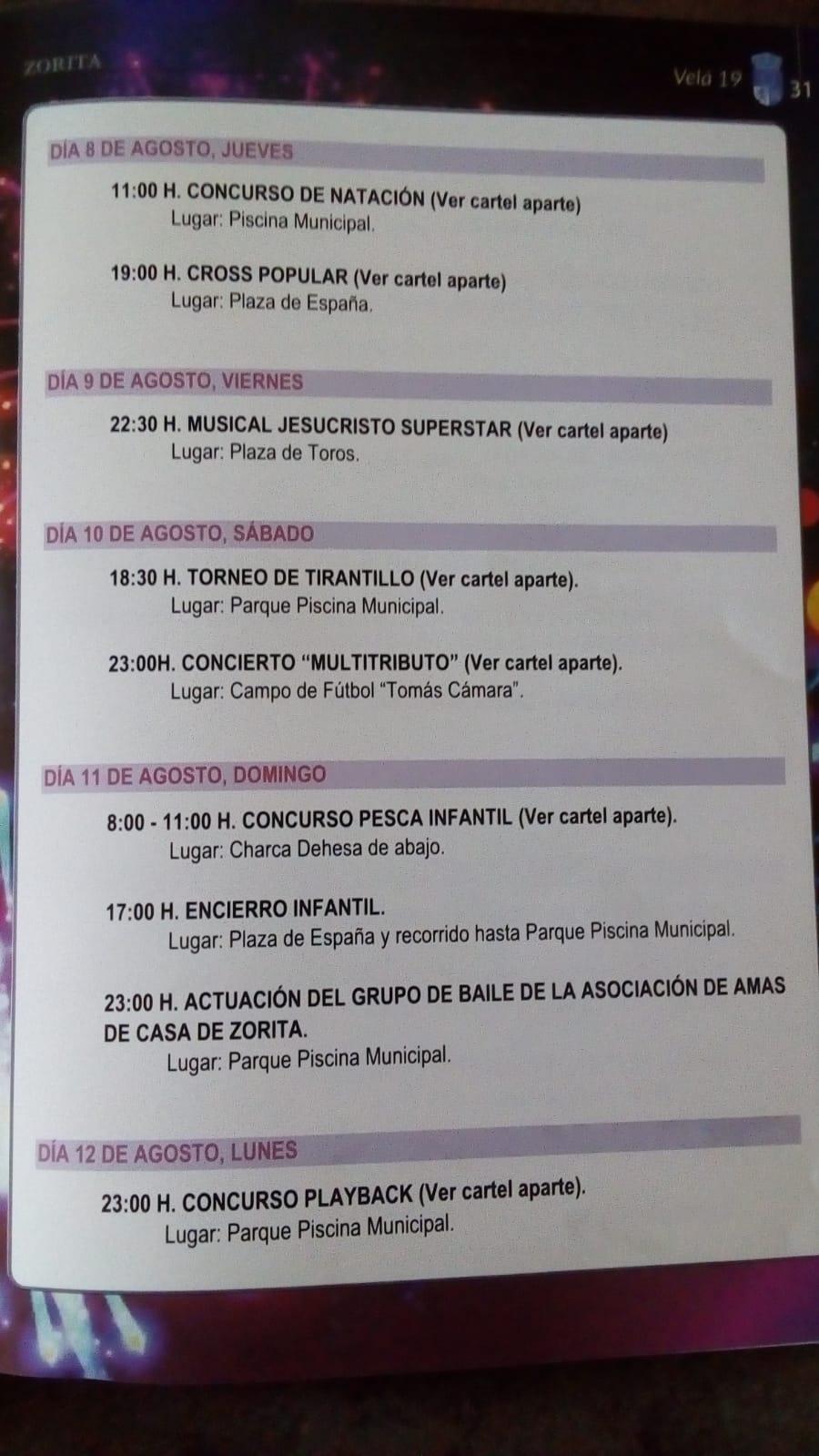 Programa Velá 2019 - Zorita (Cáceres) 2