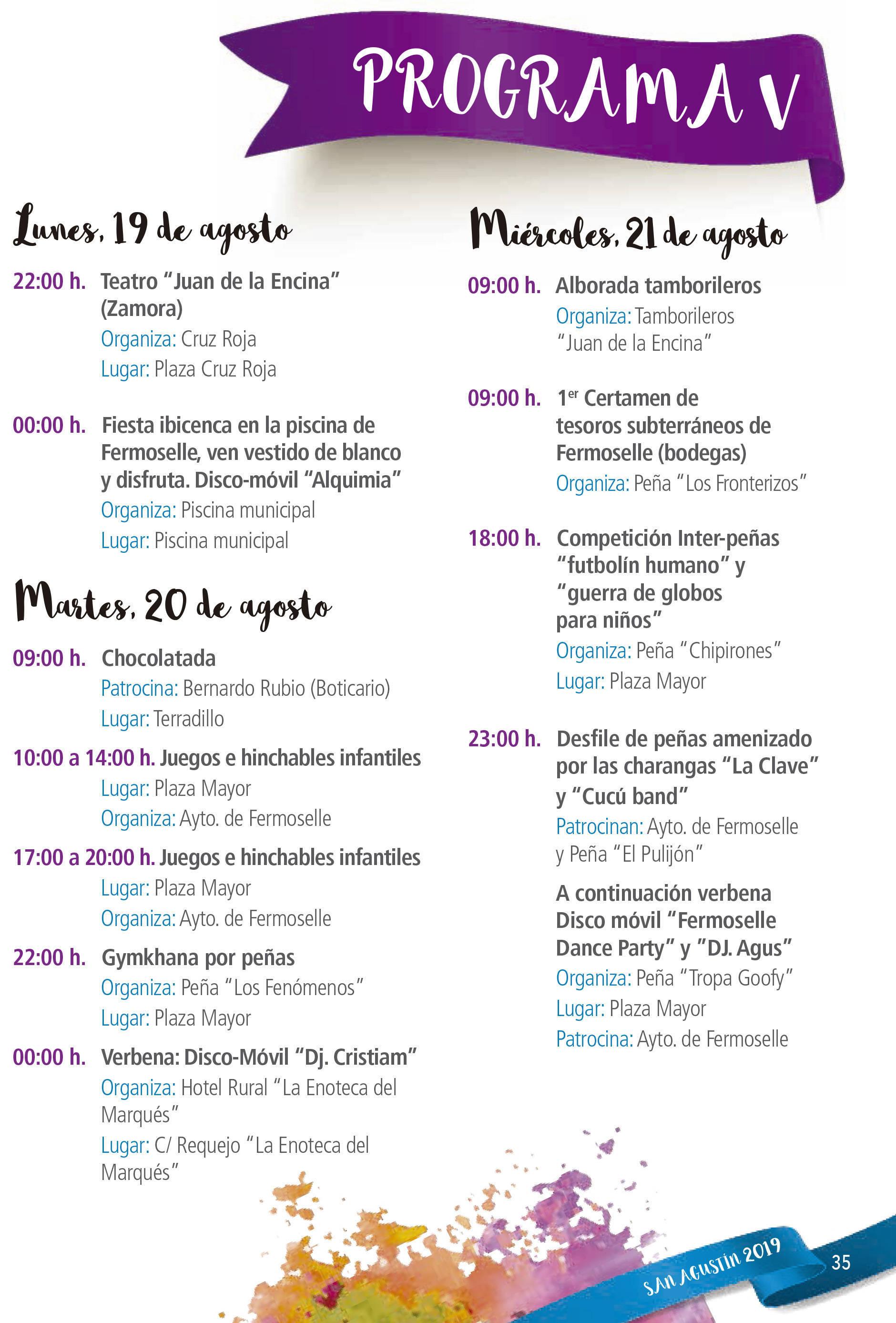 Programa de ferias y fiestas 2019 - Fermoselle (Zamora) 12